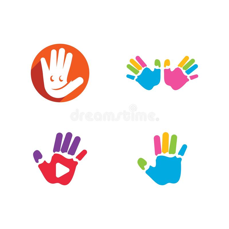 Kids hands logo. Vector template, happy, child, baby, design, illustration, concept, fun, symbol, colorful, play, abstract, school, icon, people, business royalty free illustration