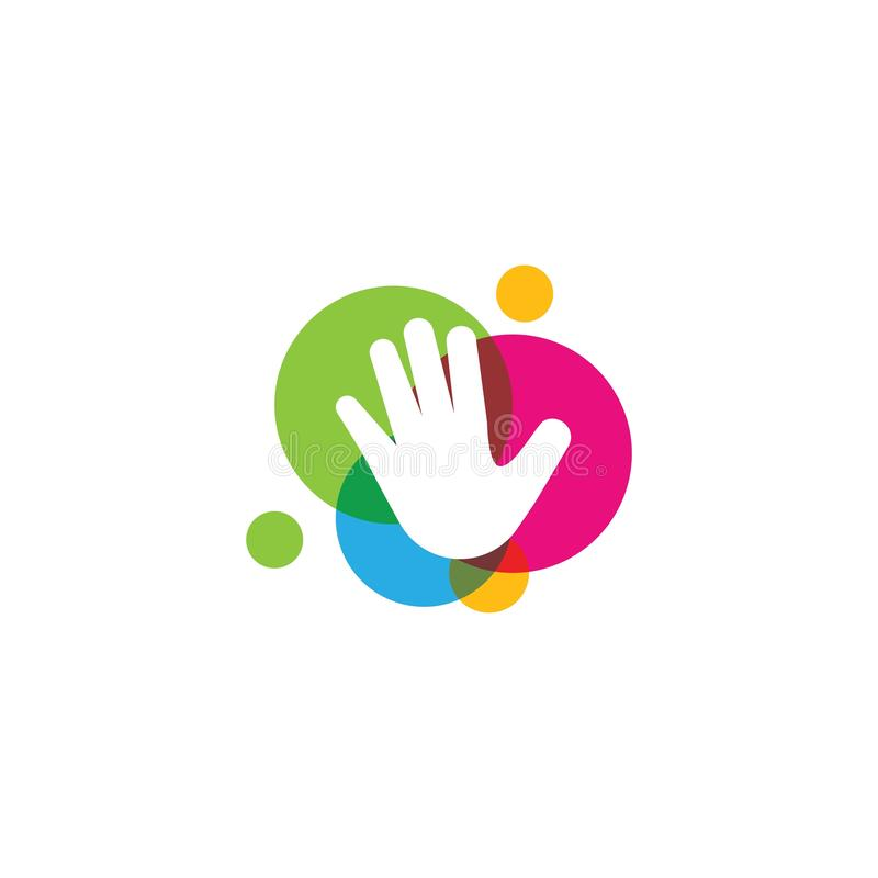 Kids hands logo. Vector template, happy, child, baby, design, illustration, concept, fun, symbol, colorful, play, abstract, school, icon, people, business stock illustration