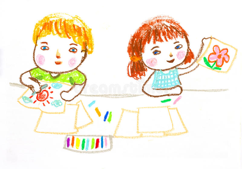Kids happy to drawing ,oil pastel drawing illustration stock illustration