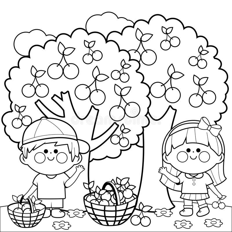 Kids harvesting cherries coloring book page vector illustration