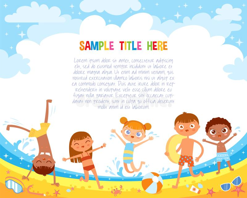 Kids have fun jumping on the beach. Flat style. Template for advertising brochure. Ready for your message. Funny cartoon character. Vector illustration stock illustration