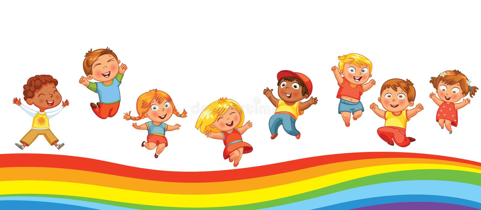 Kids jumping on a rainbow, like on a trampoline. Kids have fun jumping on a rainbow, like on a trampoline. Template is ready for advertising of children`s stock illustration