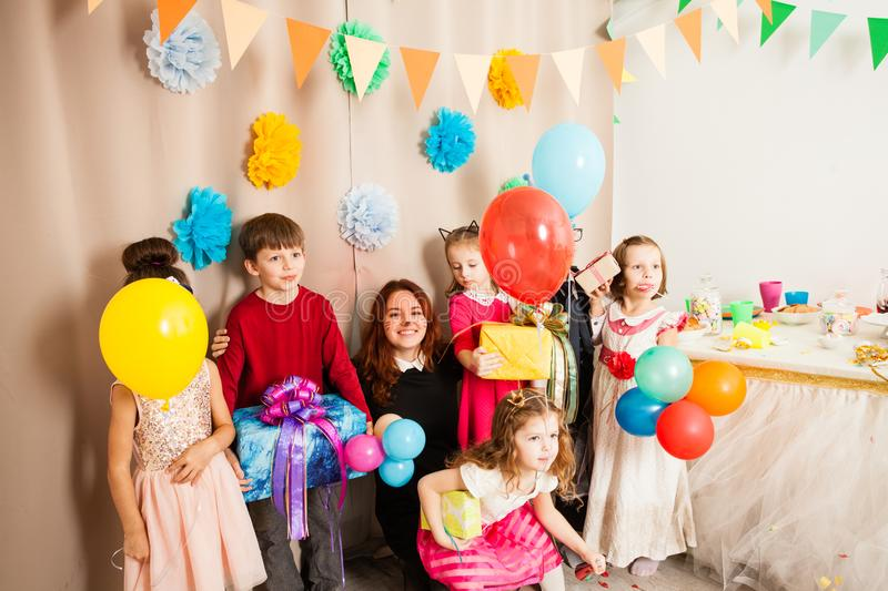 Funny birthday party with animator. Kids have fun n the birthday party with great animator royalty free stock image