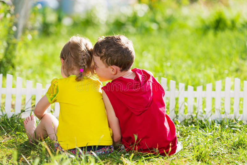 Kids have fun outdoors stock images
