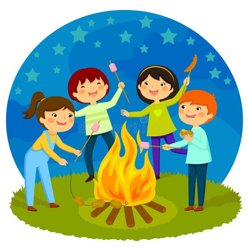 Kids having a bonfire royalty free illustration