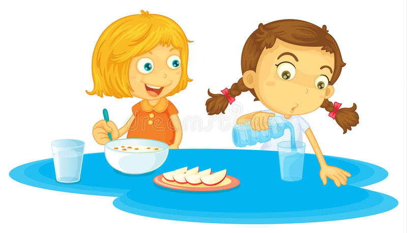 Kids having breakfast royalty free illustration
