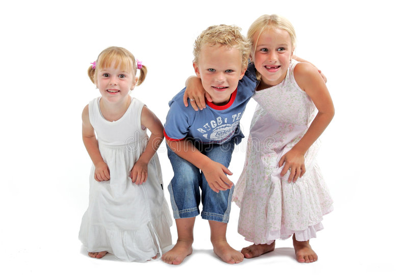 Kids having fun. 2 girls, 1 boy isolated on a white background