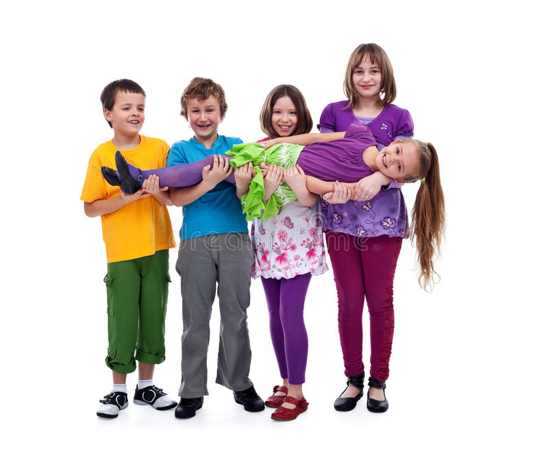 Kids having fun - isolated stock photo