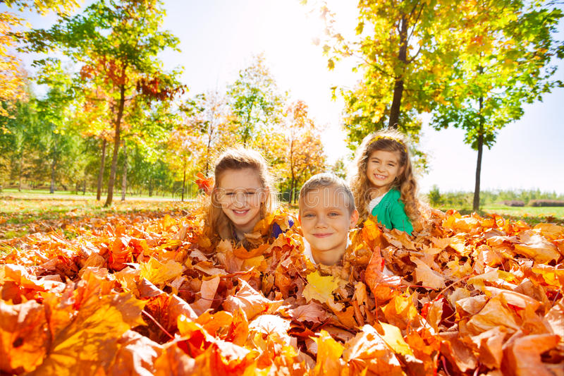Kids having fun laying on the ground with leaves. In forest during beautiful autumn sunny day royalty free stock image