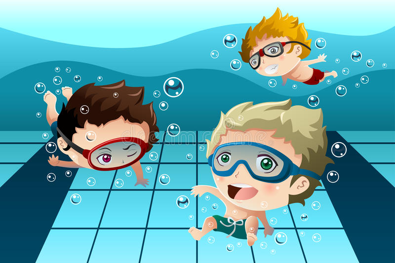 Kids having fun in the swimming pool. A vector illustration of happy kids having fun in the swimming pool royalty free illustration