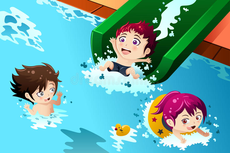 Kids having fun in the swimming pool. A vector illustration of happy kids having fun in the swimming pool vector illustration
