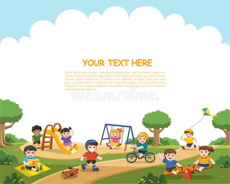 Kids having fun together on playground. stock illustration