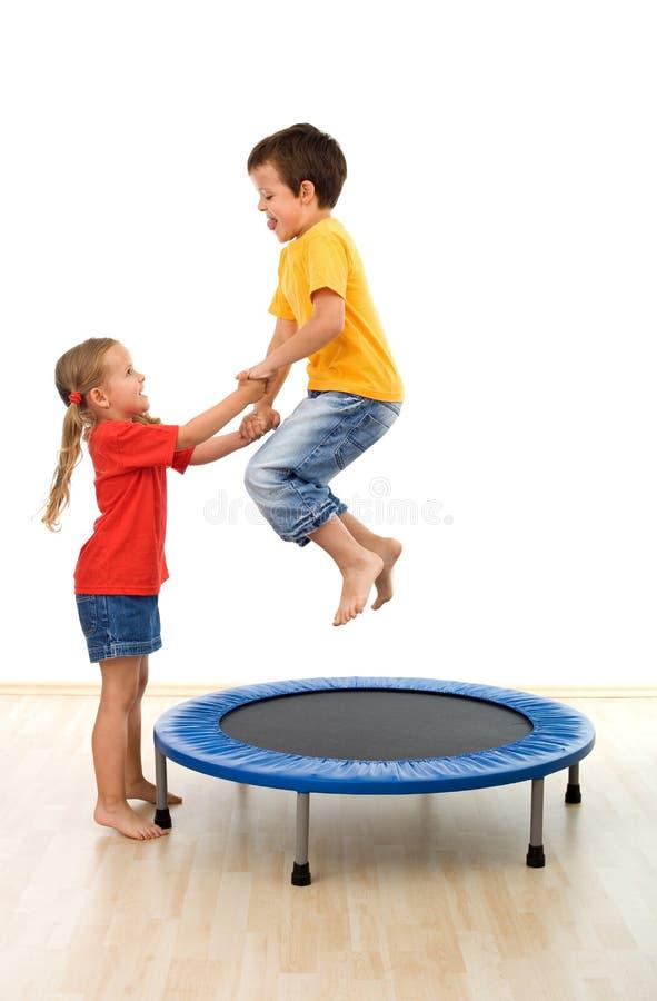 Download Kids Having Fun On A Trampoline Stock Image - Image: 15717247