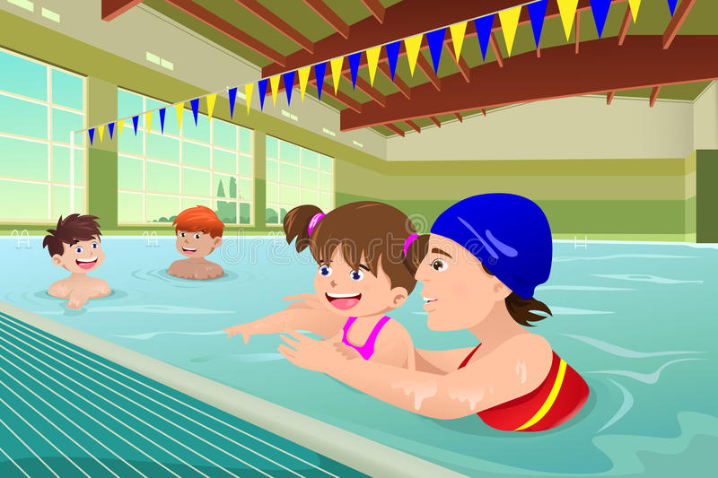 Kids having a swimming lesson in indoor pool. A vector illustration of kids having a swimming lesson in indoor pool royalty free illustration