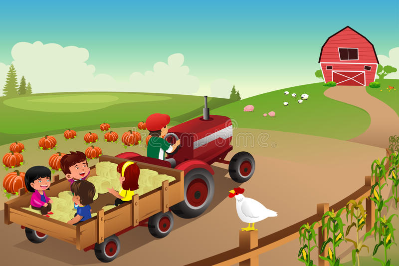 Kids On A Hayride In A Farm During Fall Season Stock Vector