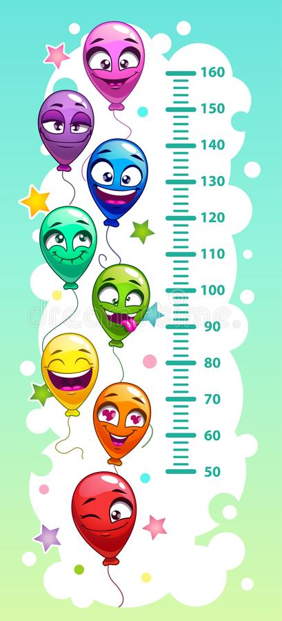 Kids height chart with air balloons. Kids height chart with funny cartoon colorful air balloons. Emoji style scale. Vector illustration vector illustration