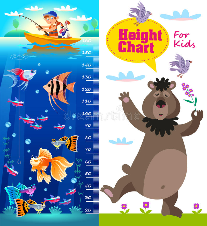 Kids height chart with cartoon fishes and bear. royalty free illustration