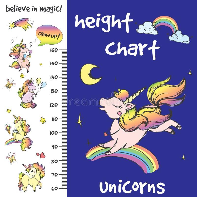 Kids height chart.Hand drawn unicorns stock illustration