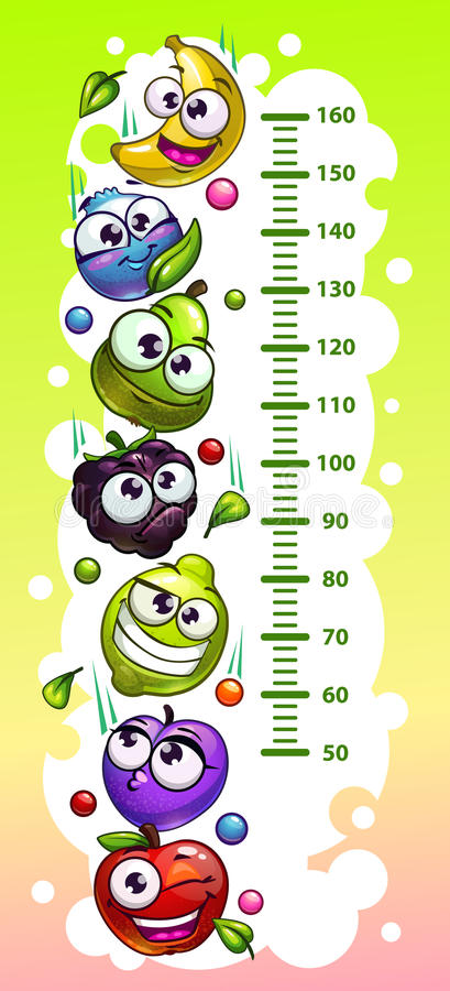 Kids height chart template. Kids height chart template with funny cartoon fruit and berry characters. Vector illustration vector illustration