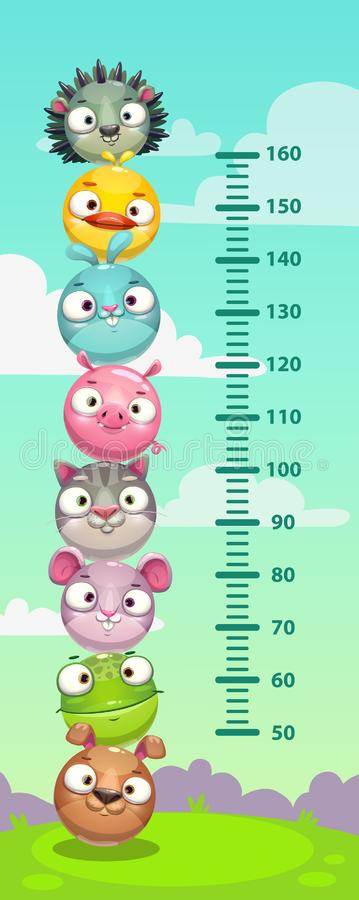 Kids height chart. Wall metter with funny cartoon round animals. Vector illustration vector illustration