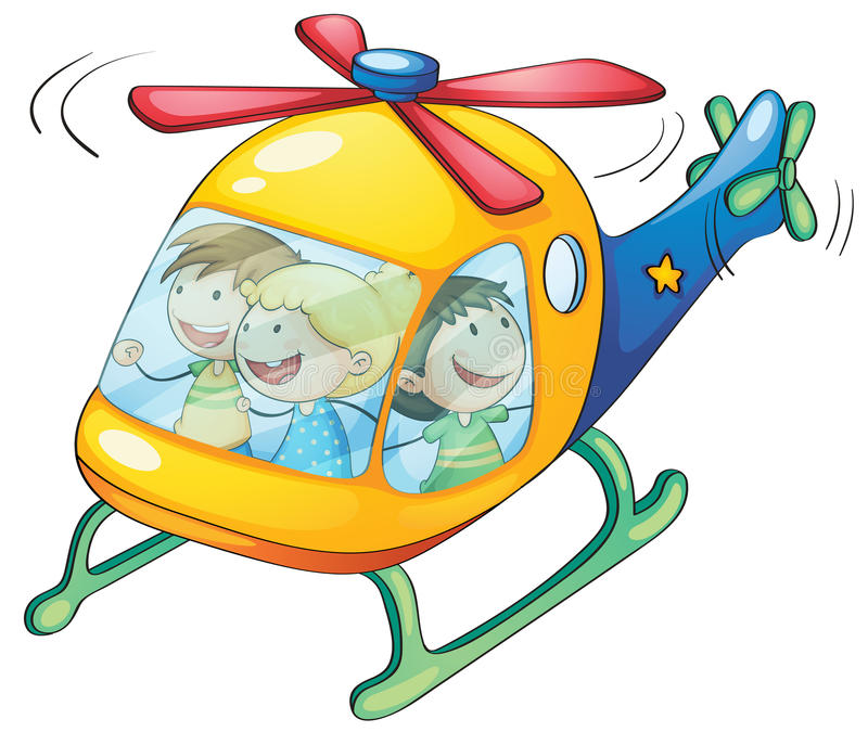 Kids in a helicopter vector illustration