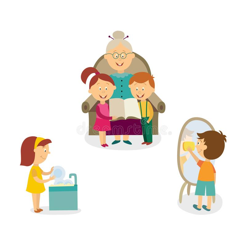 Kids Help With House Cleaning, Listen To Grandma Stock Vector ...