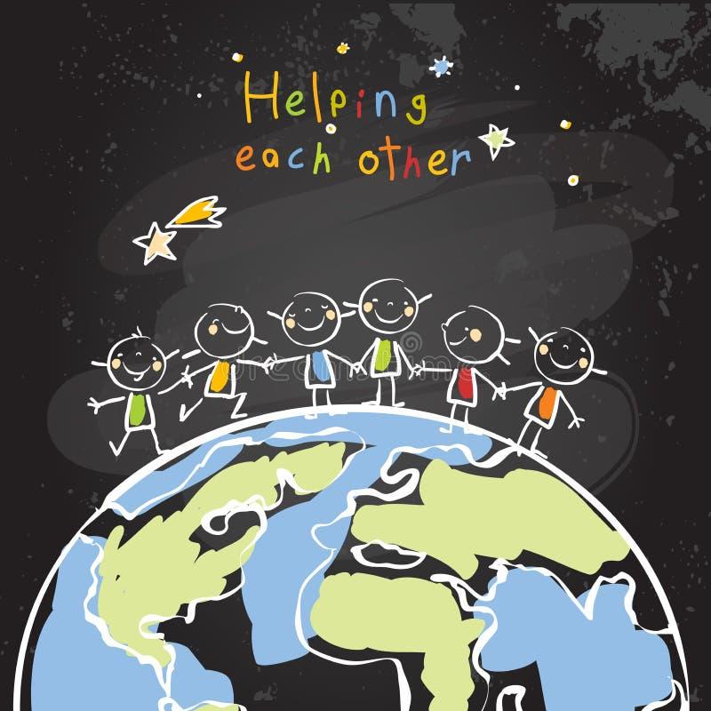 Kids helping each other. Global friendship, unity concept vector illustration. Children being together, teamwork. Chalk on blackboard sketch, hand drawn doodle stock illustration