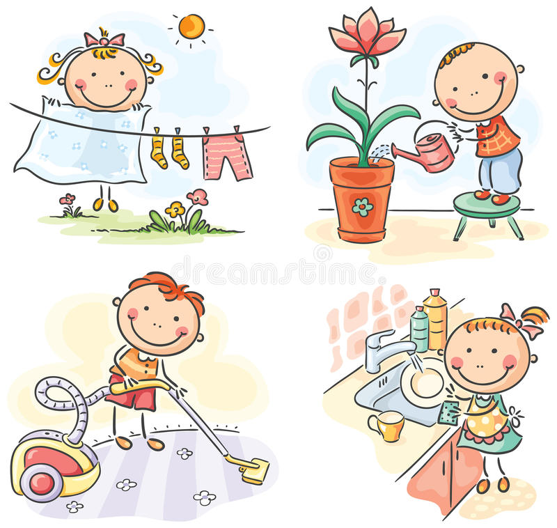 Kids helping their parents royalty free illustration