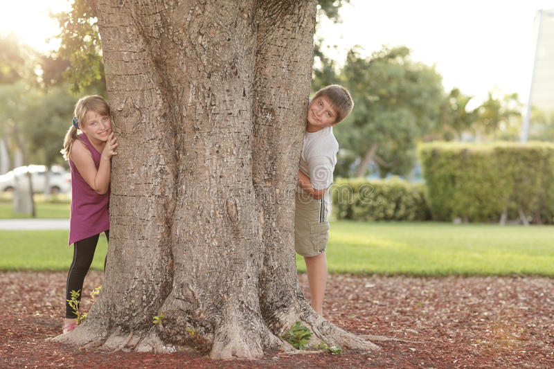 Download Kids hiding behind a tree stock image. Image of content - 16761007