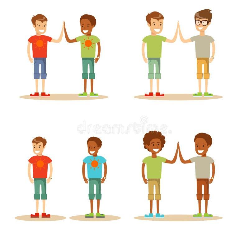 Kids high five stock illustration