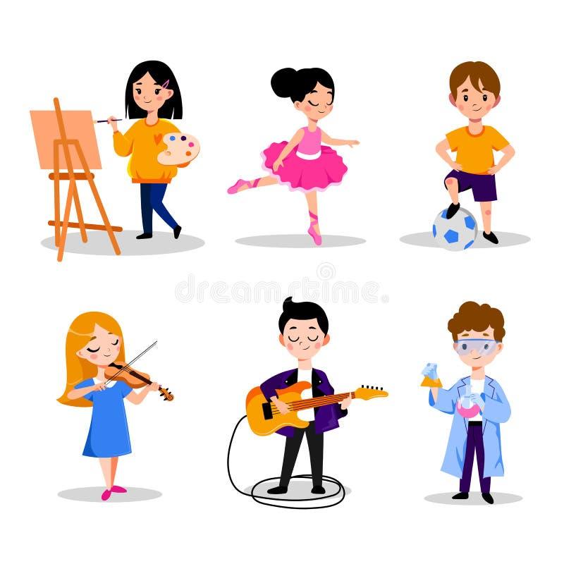Kids hobby and education, vector flat cartoon illustration. Boys and girls leisure activities in kindergarten, preschool. Little kids hobby and education, vector vector illustration