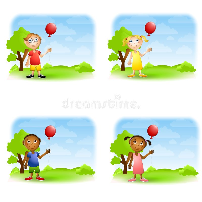 Kids Holding Balloons Stock Images