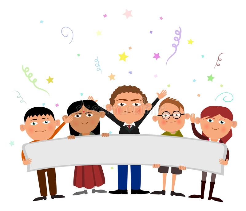 Kids holding banner stock images