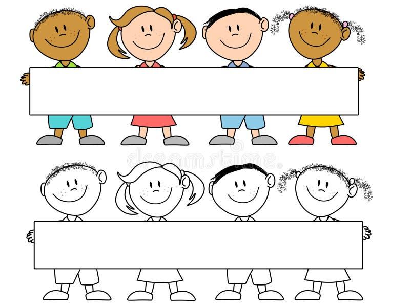 Kids Holding a Banner vector illustration