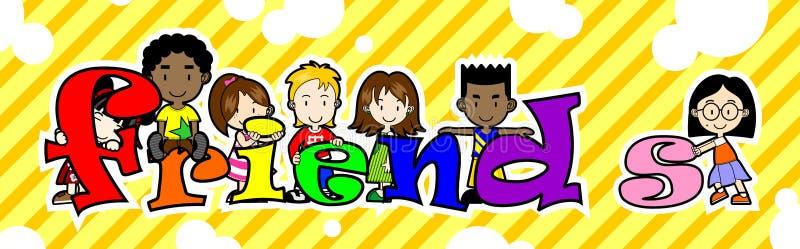 Kids holding FRIENDS letter royalty free illustration