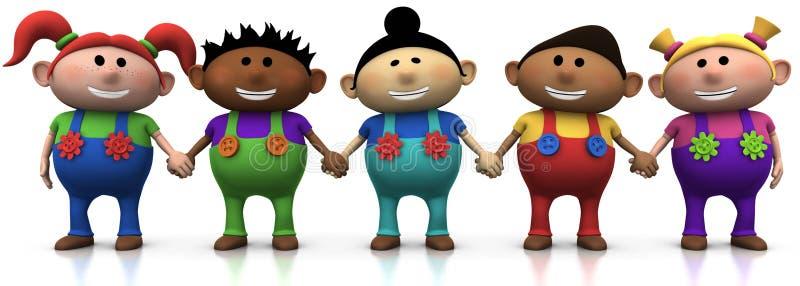 Kids holding hands stock illustration