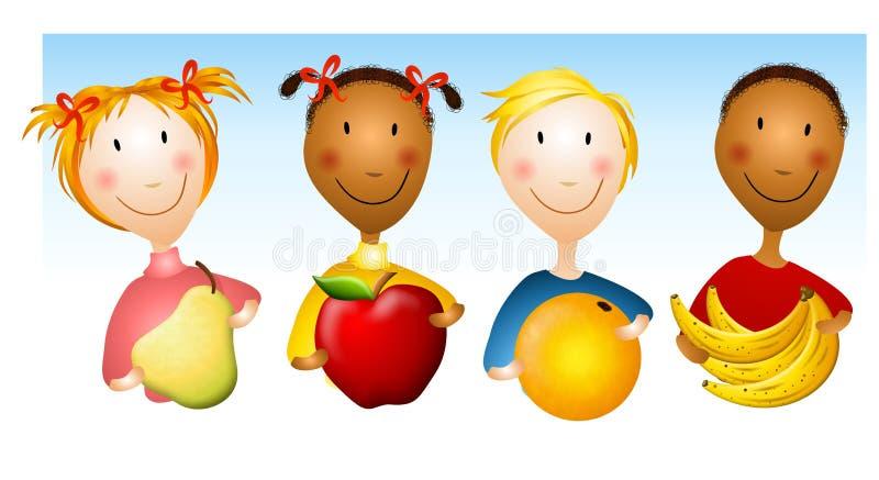 Kids Holding Healthy Foods stock illustration
