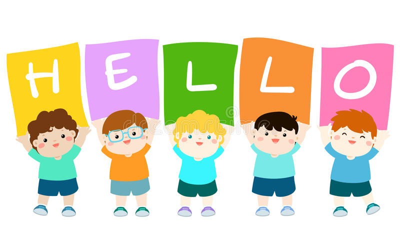 Kids holding hello board . vector illustration