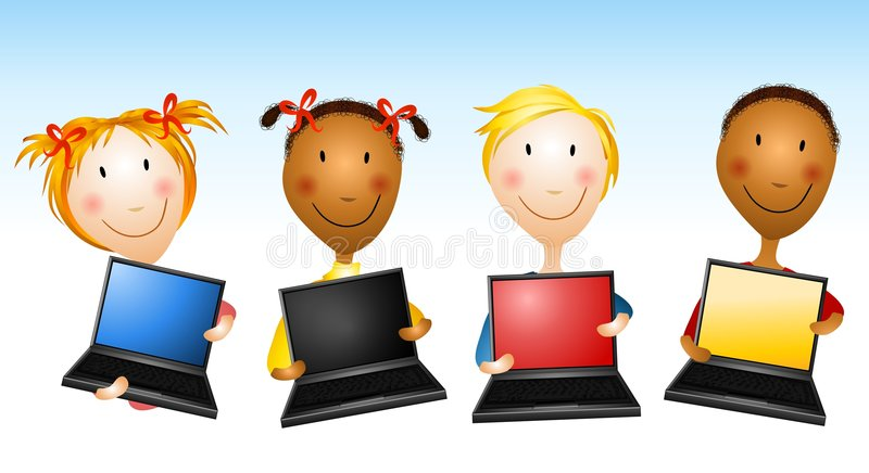 Kids Holding Laptop Computers royalty free illustration