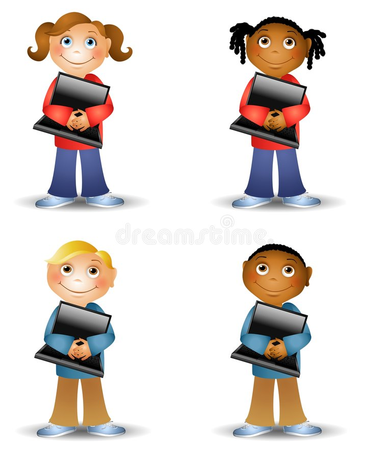 Kids Holding Laptop Computers vector illustration