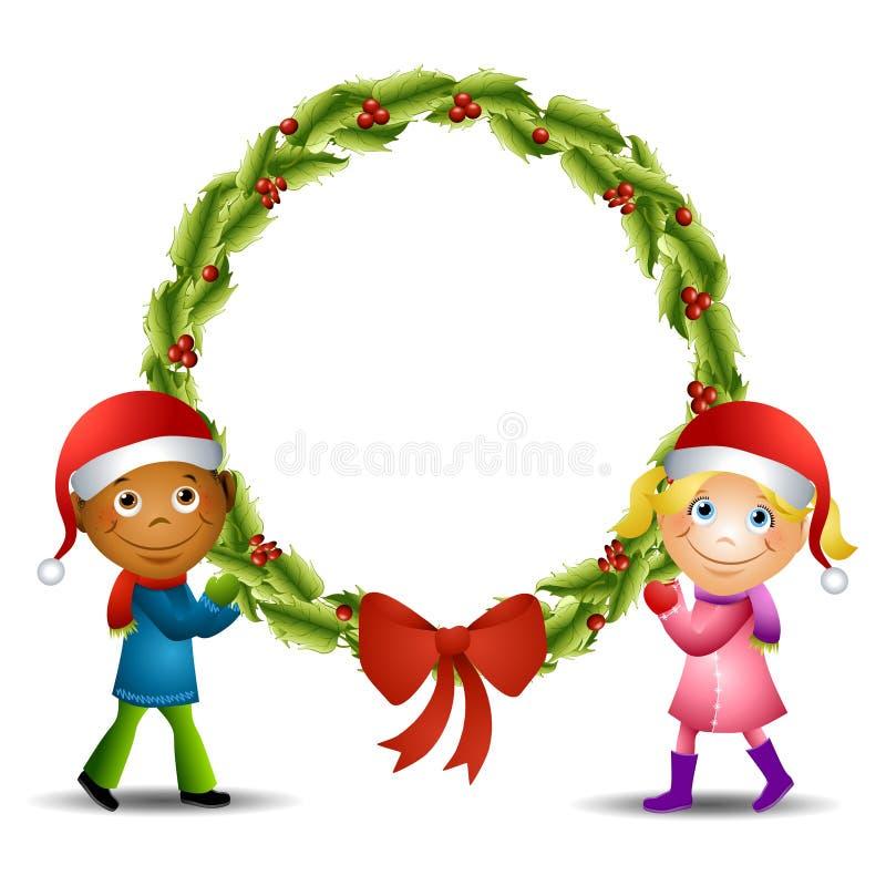 Kids Holding Large Wreath vector illustration