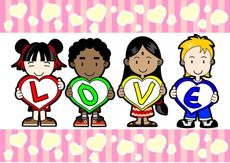 Kids holding LOVE letter royalty free illustration
