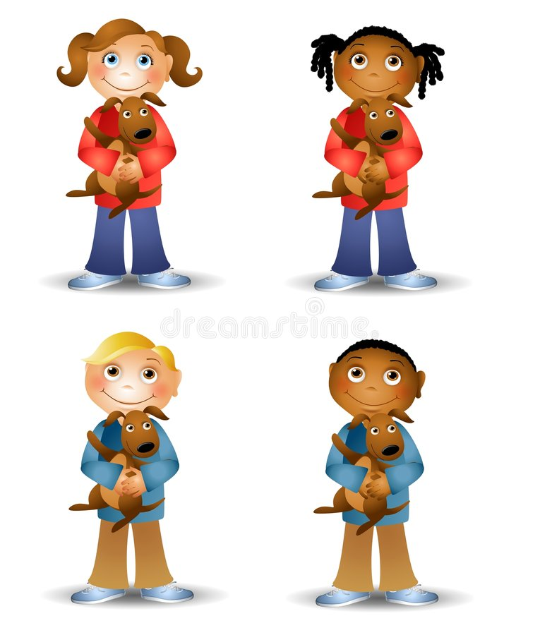 Kids Holding Puppy Dogs. An illustration featuring an assortment of cartoon kids holding little brown puppy dogs stock illustration