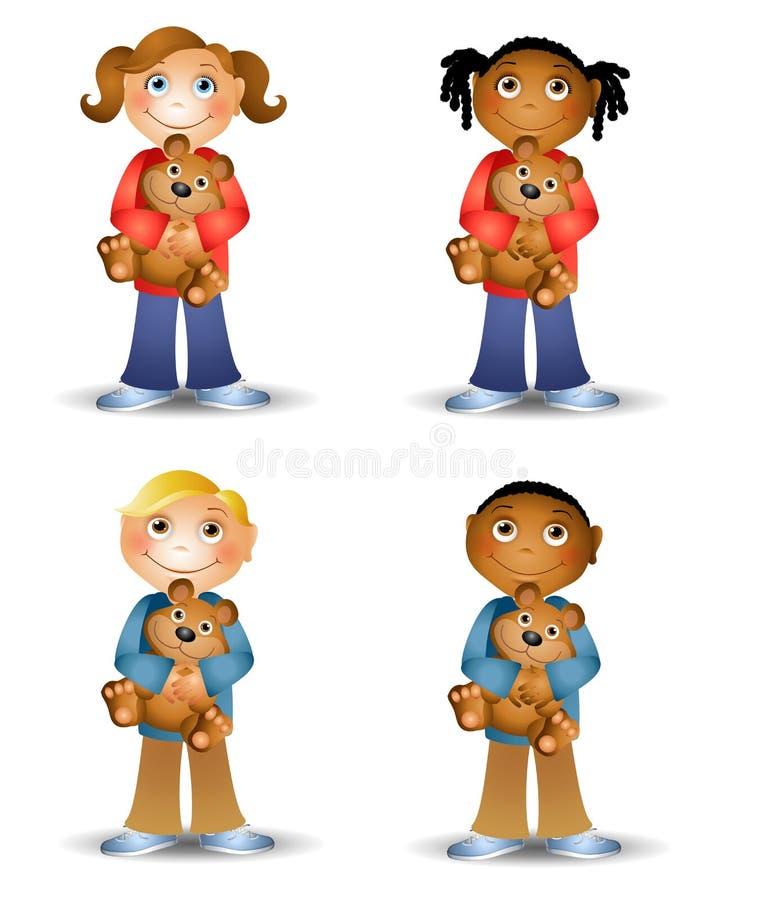 Kids Holding Teddy Bears. An illustration featuring an assortment of cartoon kids holding teddy bears and smiling stock illustration