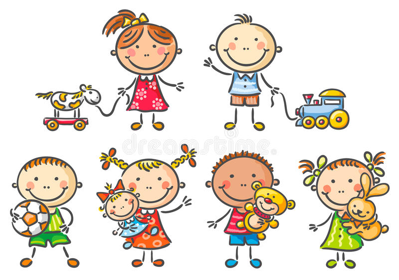 Kids holding their toys royalty free illustration
