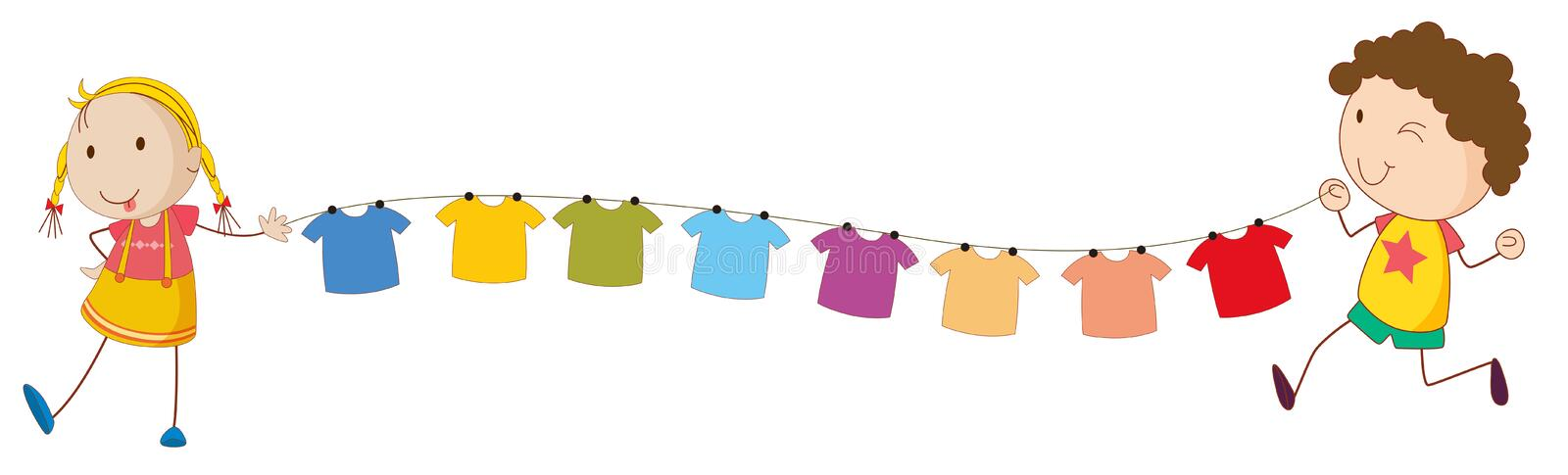 Kids holding the tips of the wire for the hanging clothes stock illustration