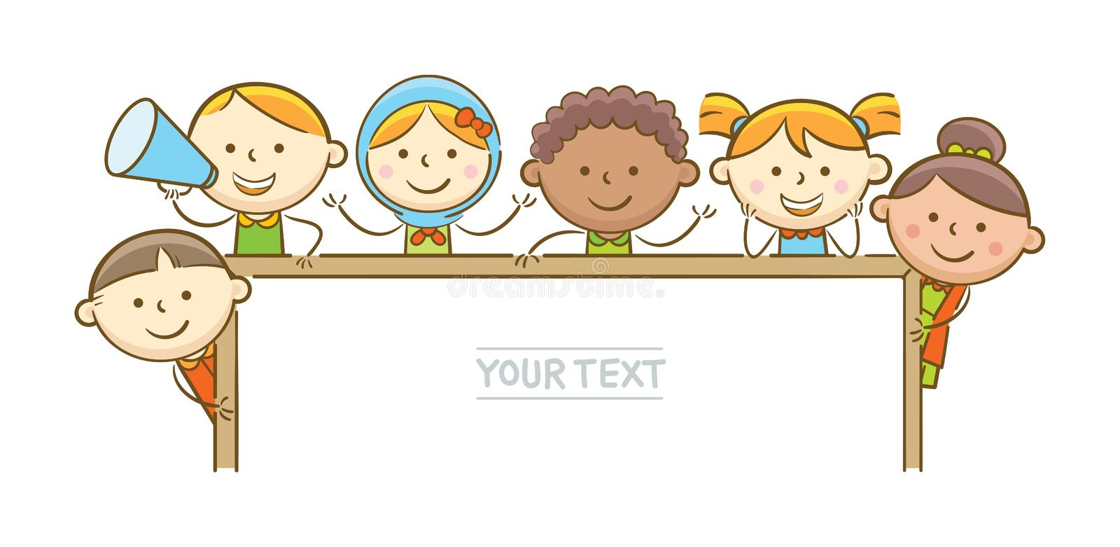 Kids Holding Whiteboard. Doodle illustration: Kids holding horizontal whiteboard vector illustration