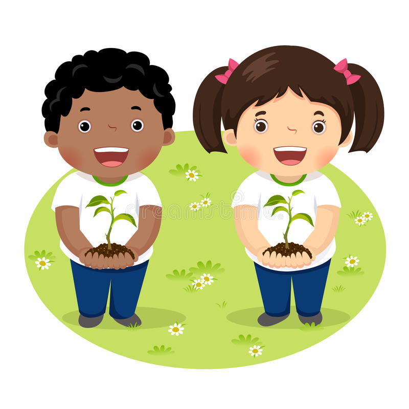 Kids holding young plant vector illustration