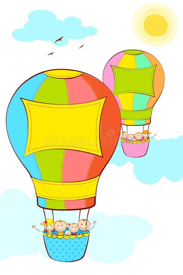 Download Kids in Hot Air Balloon stock vector. Image of story - 25599020