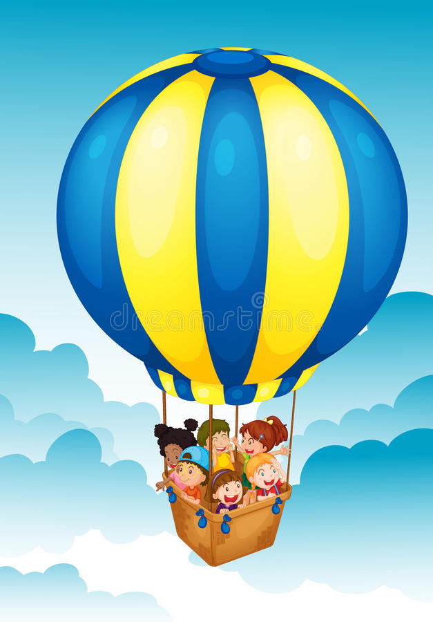 Download Kids in hot air balloon stock illustration. Image of colorful - 25770786